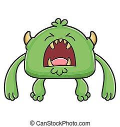 potwór, gniewny, rysunek, chochlik, zielony, wyjąc