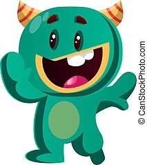 potwór, ilustracja, falować, wektor, zielony, szczęśliwy