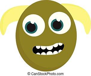potwór, kolor, dwa, żółty, wektor, zielony, ilustracja, rogi, albo