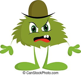 potwór, kolor, gniewny, wektor, zielony kapelusz, albo, illustration.