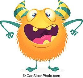potwór, litera, albo, rysunek, ozdoba, pomylony, halloween, projektować, druk, mascot., sticer