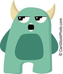 potwór, róg, gniewny, kolor, wektor, zielony, albo, illustration.