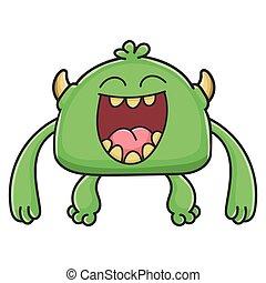 potwór, rysunek, chochlik, śmiech, zielony