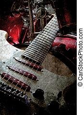 použitý, kytara, a, bubnování