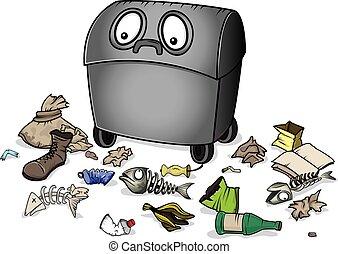 poubelle, gaspillage, déchets ménagers, déchets
