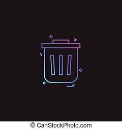 poubelle, vecteur, conception, icône