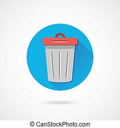poubelle, vecteur, icône