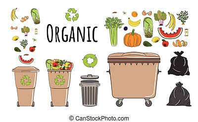 poubelles, ensemble, organique