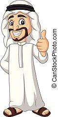 pouce, abandon, arabe, saoudien, dessin animé, homme