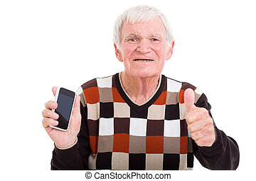 pouce, abandon, téléphone, personne agee, intelligent, homme