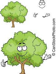 pouce, caractère, arbre, haut, vert, dessin animé