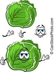 pouce, caractère, haut, chou vert, dessin animé