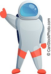 pouce, dessin animé, icône, astronaute, style, haut