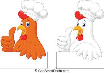 pouce, donner, coq, chef cuistot, u, dessin animé