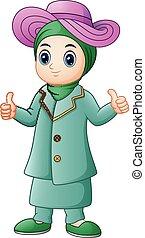 pouce, donner, musulman, haut, girl, dessin animé