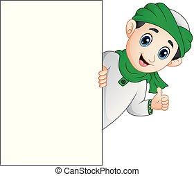 pouce, donner, musulman, haut, signe, tenue, vide, gosse, heureux