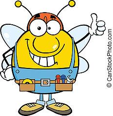 pouce, donner, ouvrier, haut, pudgy, abeille