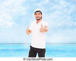 pouce, exposition, sac à dos, haut, main, chapeau, geste, homme