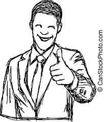 pouce, griffonnage, haut, illustration, main, vecteur, dessiné, homme affaires, sourire