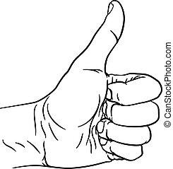 pouce haut, doigts, main, pouces, poing, geste, dehors
