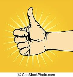 pouce, -, haut, geste main, aimer