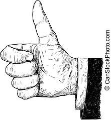 pouce haut, illustration, main, vecteur, artistique, complet, homme affaires, dessin, ou, geste