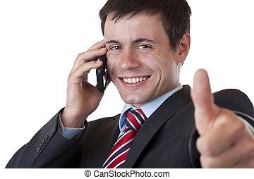 pouce haut, mobile, tient, phonecall, jeune, homme affaires, confection