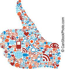 pouce, icônes, média, haut, main, social