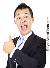 pouce, isolé, haut, asiatique, homme affaires, blanc, heureux
