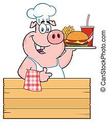 pouce, nourriture, sur, caractère, haut, jeûne, cochon, chef cuistot, bois, tenue, signe, plateau, dessin animé, donner, mascotte