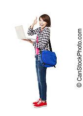 pouce, ordinateur portable, haut, jeune, étudiant, heureux