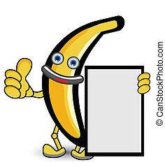 pouce, pose, bannière, haut, banane
