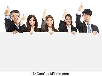 pouce, professionnels, jeune, haut, asiatique, tenue, conseil blanc