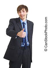pouce, reussite, projection, haut, jeune, fond, homme affaires, blanc, sur, heureux