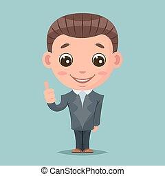 pouce, soutien, haut, illustration, mascotte, vecteur, conception, homme affaires, approbation, heureux, dessin animé, aimer