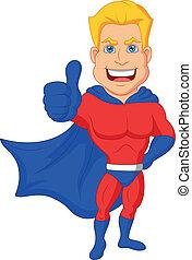 pouce, superhero, haut, dessin animé