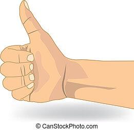 pouce, symbole, haut, main, vecteur, aimer