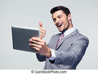 pouce, tablette, projection, haut, informatique, homme affaires