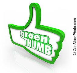 pouce, vert, mots, cultiver, agriculture, jardinier