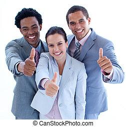 pouces, équipe, business, sourire, haut