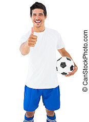 pouces, boule football, tenue, projection, joueur, blanc, haut