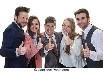 pouces, collaboration, equipe affaires, haut