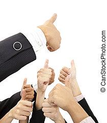 pouces, groupe, haut, business, main