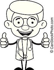 pouces, -, gynécologue, docteur, haut, double