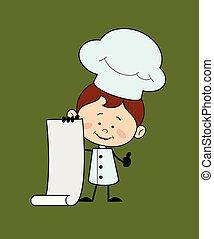 pouces, -, projection, défilement papier, lever, caractère, chef cuistot, cuisine