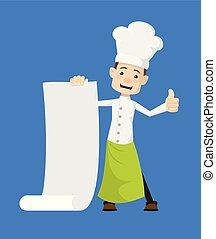 pouces, -, projection, défilement papier, lever, chef cuistot