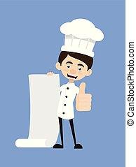 pouces, -, projection, papier, dessin animé, rouleau, lever, chef cuistot