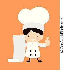 pouces, -, projection, papier, dessin animé, rouleau, mignon, lever, chef cuistot