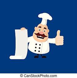 pouces, -, projection, papier, graisse, rigolote, rouleau, lever, chef cuistot