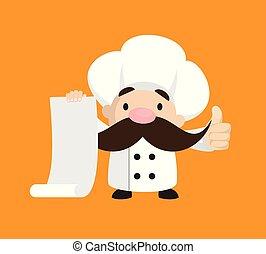pouces, -, projection, papier, rigolote, rouleau, court, lever, chef cuistot